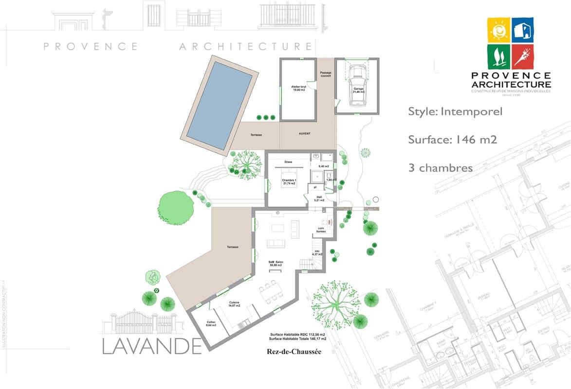 Plan maison provencale maison 135 m plan u2026 plan de - Plan maison provencale gratuit ...